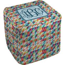 Retro Triangles Cube Pouf Ottoman (Personalized)
