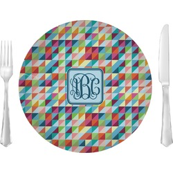 """Retro Triangles 10"""" Glass Lunch / Dinner Plates - Single or Set (Personalized)"""
