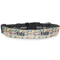 "Retro Triangles Deluxe Dog Collar - Large (13"" to 21"") (Personalized)"