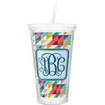 Retro Triangles Double Wall Tumbler with Straw (Personalized)