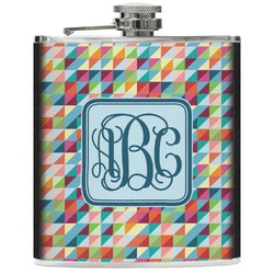 Retro Triangles Genuine Leather Flask (Personalized)
