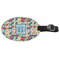 Retro Triangles Genuine Leather Oval Luggage Tag (Personalized)