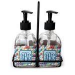 Retro Triangles Soap & Lotion Dispenser Set (Glass) (Personalized)