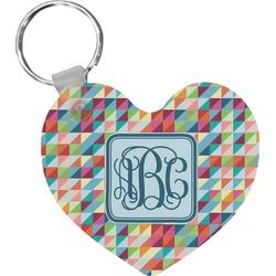 Retro Triangles Heart Keychain (Personalized)