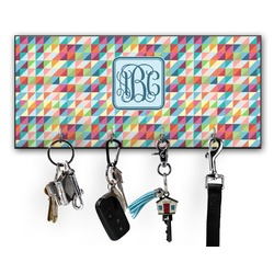 Retro Triangles Key Hanger w/ 4 Hooks (Personalized)