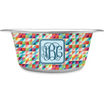 Retro Triangles Stainless Steel Dog Bowl (Personalized)
