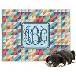 Retro Triangles Minky Dog Blanket - Large  (Personalized)