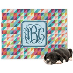 Retro Triangles Minky Dog Blanket (Personalized)