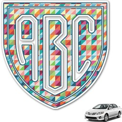 Retro Triangles Monogram Car Decal (Personalized)