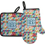 Retro Triangles Oven Mitt & Pot Holder (Personalized)
