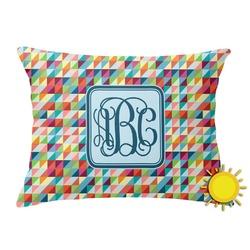 Retro Triangles Outdoor Throw Pillow (Rectangular) (Personalized)
