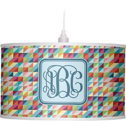 Retro Triangles Drum Pendant Lamp Linen (Personalized)