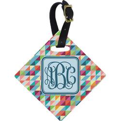 Retro Triangles Diamond Luggage Tag (Personalized)