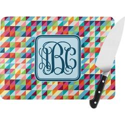 Retro Triangles Rectangular Glass Cutting Board (Personalized)