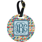 Retro Triangles Round Luggage Tag (Personalized)