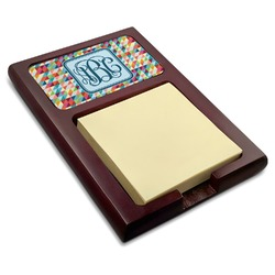 Retro Triangles Red Mahogany Sticky Note Holder (Personalized)