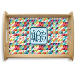 Retro Triangles Natural Wooden Tray (Personalized)