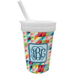 Retro Triangles Sippy Cup with Straw (Personalized)