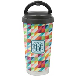 Retro Triangles Stainless Steel Travel Mug (Personalized)