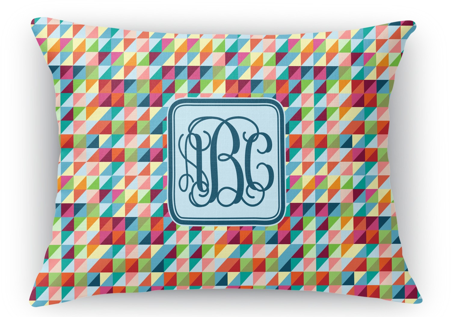 Custom Monogrammed Throw Pillows : Retro Triangles Rectangular Throw Pillow (Personalized) - YouCustomizeIt