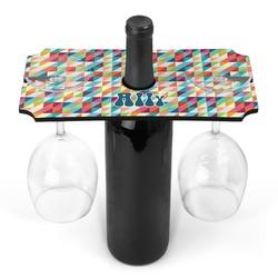 Retro Triangles Wine Bottle & Glass Holder (Personalized)