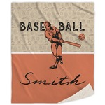 Retro Baseball Sherpa Throw Blanket (Personalized)