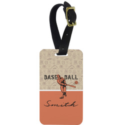 Retro Baseball Metal Luggage Tag w/ Name or Text