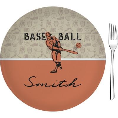 "Retro Baseball 8"" Glass Appetizer / Dessert Plates - Single or Set (Personalized)"