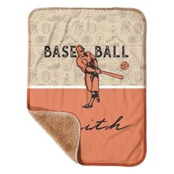 "Retro Baseball Sherpa Baby Blanket 30"" x 40"" (Personalized)"