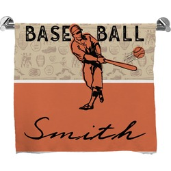Retro Baseball Full Print Bath Towel (Personalized)