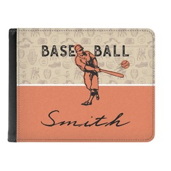 Retro Baseball Genuine Leather Men's Bi-fold Wallet (Personalized)