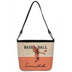 Retro Baseball Bucket Bag w/ Genuine Leather Trim (Personalized)