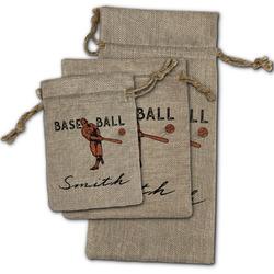 Retro Baseball Burlap Gift Bags (Personalized)