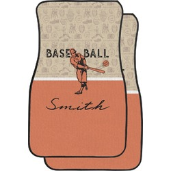 Retro Baseball Car Floor Mats (Front Seat) (Personalized)
