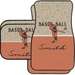 Retro Baseball Car Floor Mats Set - 2 Front & 2 Back (Personalized)