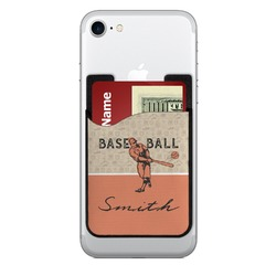 Retro Baseball 2-in-1 Cell Phone Credit Card Holder & Screen Cleaner (Personalized)
