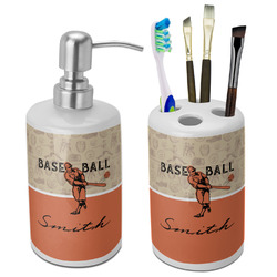Retro Baseball Bathroom Accessories Set (Ceramic) (Personalized)