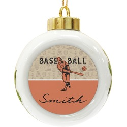 Retro Baseball Ceramic Ball Ornament (Personalized)
