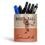 Retro Baseball Ceramic Pen Holder