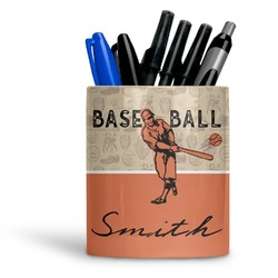 Retro Baseball Ceramic Pen Holder