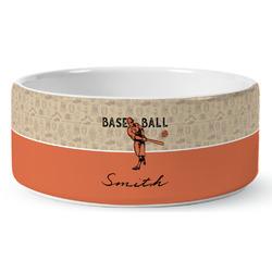 Retro Baseball Ceramic Pet Bowl (Personalized)