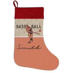 Retro Baseball Holiday Stocking w/ Name or Text