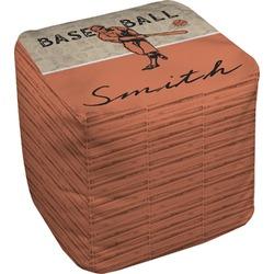 Retro Baseball Cube Pouf Ottoman (Personalized)