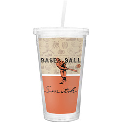 Retro Baseball Double Wall Tumbler with Straw (Personalized)