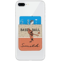Retro Baseball Genuine Leather Adhesive Phone Wallet (Personalized)