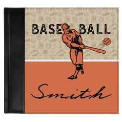 Retro Baseball Genuine Leather Baby Memory Book (Personalized)