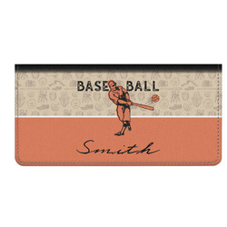 Retro Baseball Genuine Leather Checkbook Cover (Personalized)