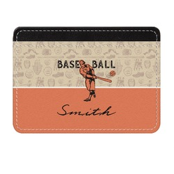 Retro Baseball Genuine Leather Front Pocket Wallet (Personalized)