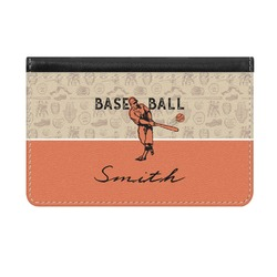 Retro Baseball Genuine Leather ID & Card Wallet - Slim Style (Personalized)