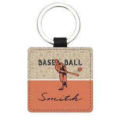 Retro Baseball Genuine Leather Rectangular Keychain (Personalized)